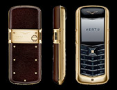 Vertu Constallation Yellow Gold Dark Brown Leather